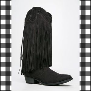 Qupid Sochi Black Fringe Riding Cowboy Boots Shoes